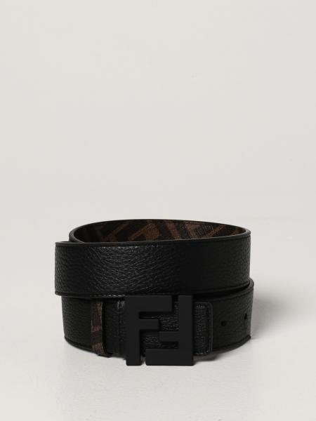 Fendi belt in leather and FF canvas