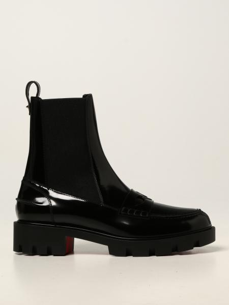 Christian Louboutin women: Montezu Lug flat Christian Louboutin ankle boot in patent leather