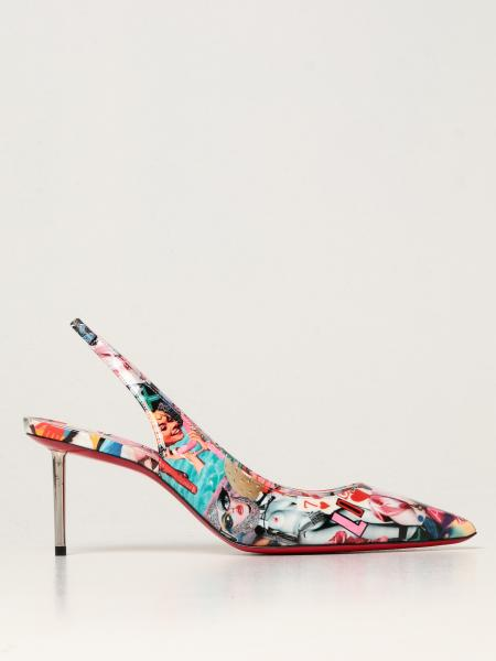 Christian Louboutin women: Epic Christian Louboutin slingbacks in patent leather with Oh Xtian print