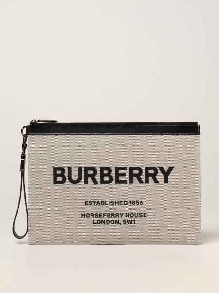 Pochette Burberry in tela con logo