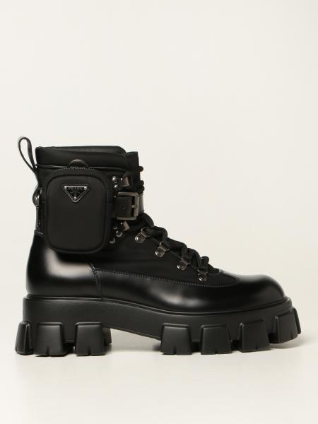 Prada men: Monolith Prada ankle boots in brushed leather
