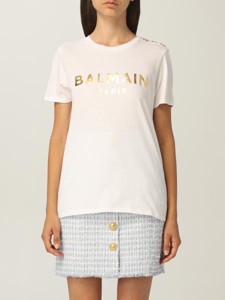 T-shirt Balmain in cotone con logo laminato