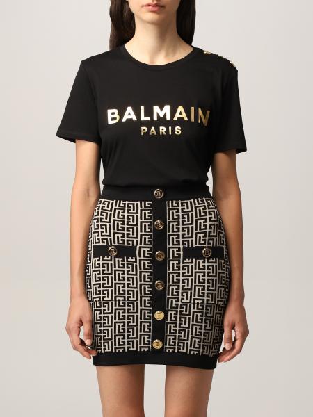 Balmain cotton T-shirt with laminated logo