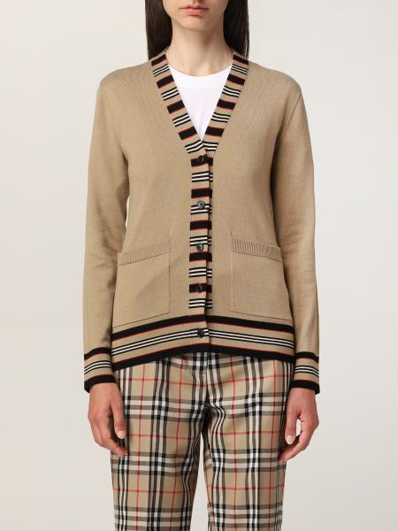 Burberry wool cardigan with striped profiles