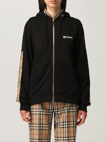 Burberry cotton sweatshirt with check bands