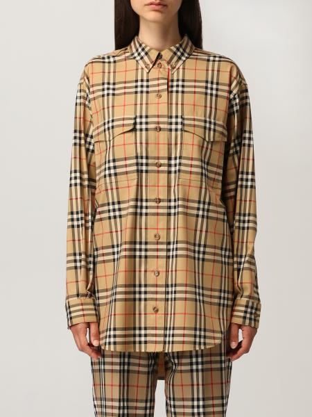 Burberry oversize shirt in stretch cotton with vintage check pattern
