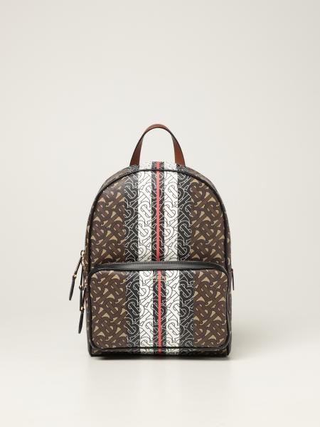 Burberry women: Burberry backpack in E-canvas with printed TB motif