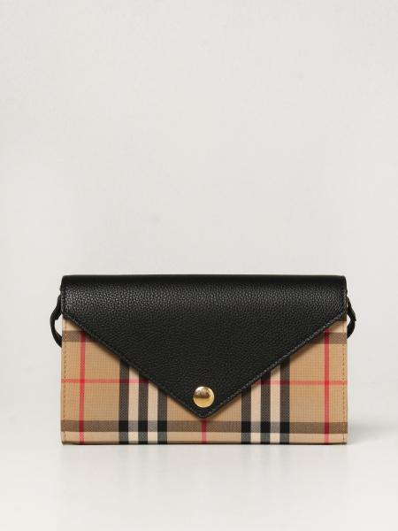 Burberry women: Burberry shoulder bag in check canvas and leather