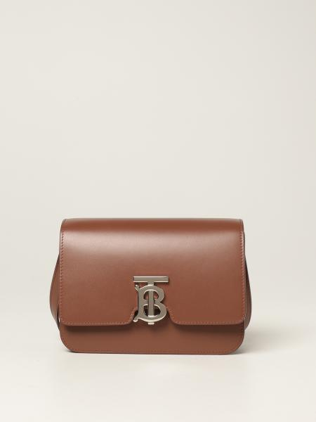 Burberry women: Burberry leather shoulder bag with TB monogram