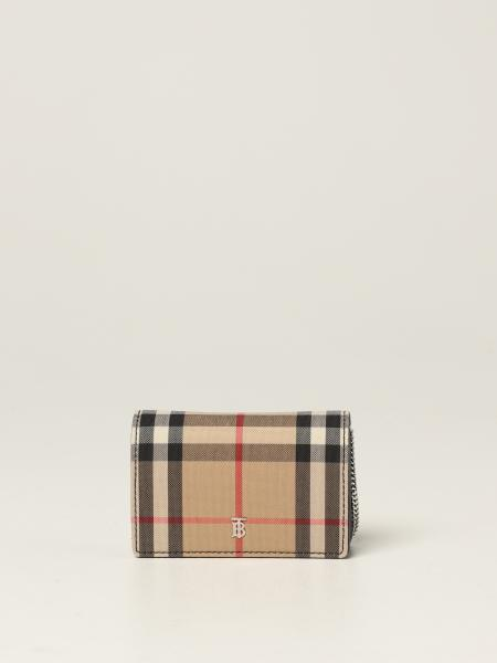 Burberry women: Burberry shoulder card holder in check canvas