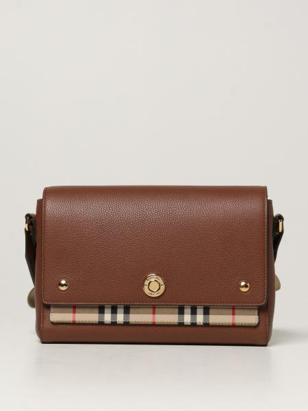 Burberry women: Burberry Note bag in leather and check fabric