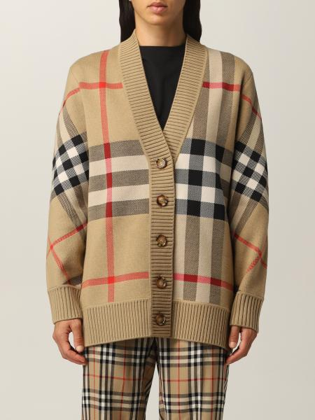Burberry cardigan in technical wool with check pattern