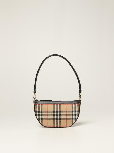 Burberry women: Burberry Olympia bag in check canvas and leather