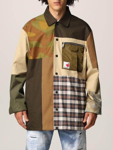 Dsquared2 shirt jacket in patchwork