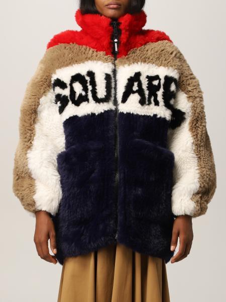 Dsquared2 Logo 合成皮草外套