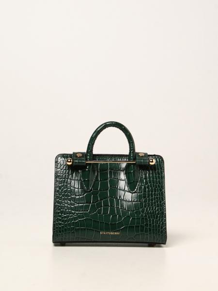 Strathberry nano tote bag in crocodile print leather