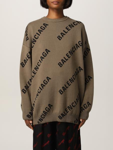 Balenciaga: Maglia oversize Balenciaga con logo all over
