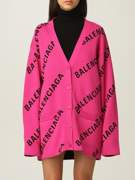 Cardigan oversize Balenciaga con logo all over