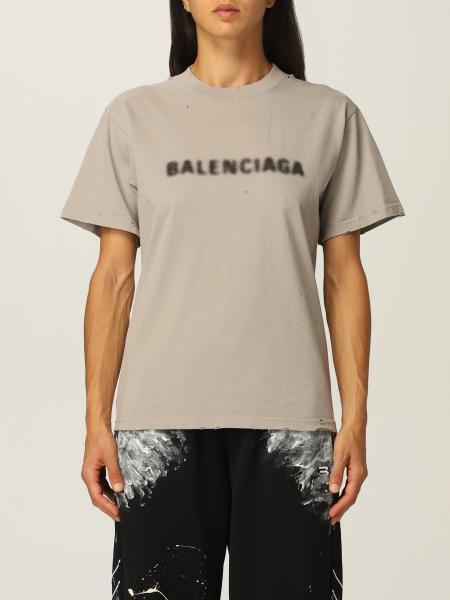 Balenciaga: T-shirt Balenciaga in cotone con logo sfocato
