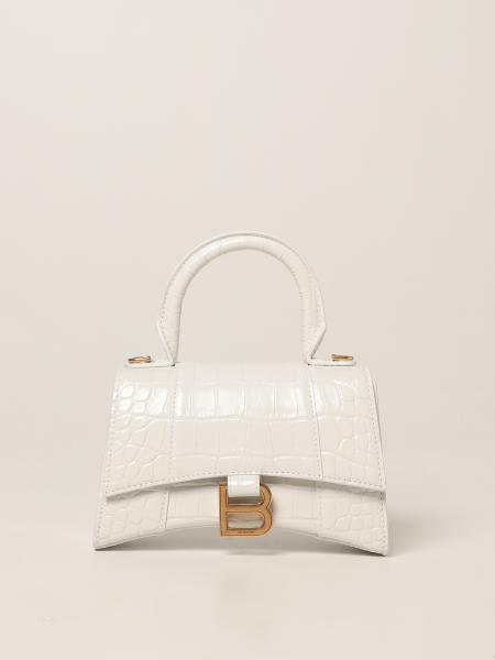 Balenciaga: Borsa Hourglass top handle Xs Balenciaga in pelle con stampa cocco