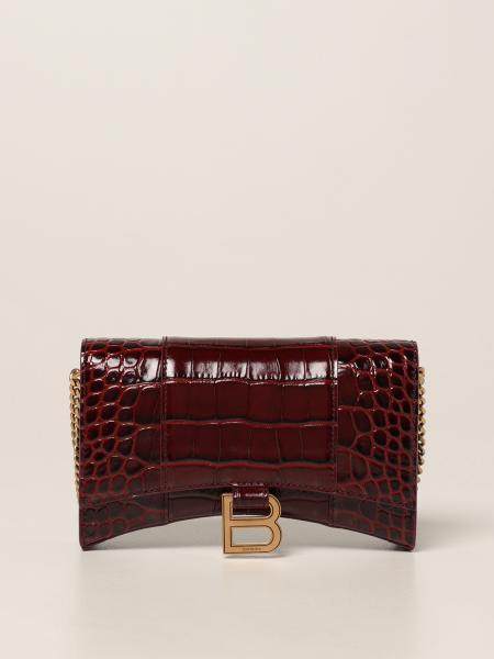 Balenciaga women: Balenciaga Hourglass bag in crocodile print leather