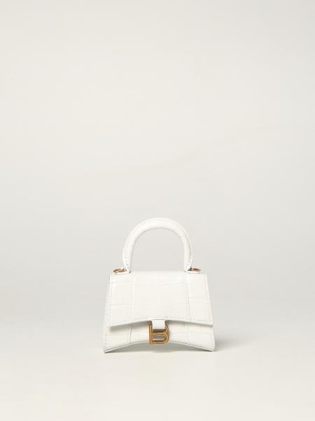 Balenciaga women: Balenciaga Hourglass top handle bag in crocodile print leather