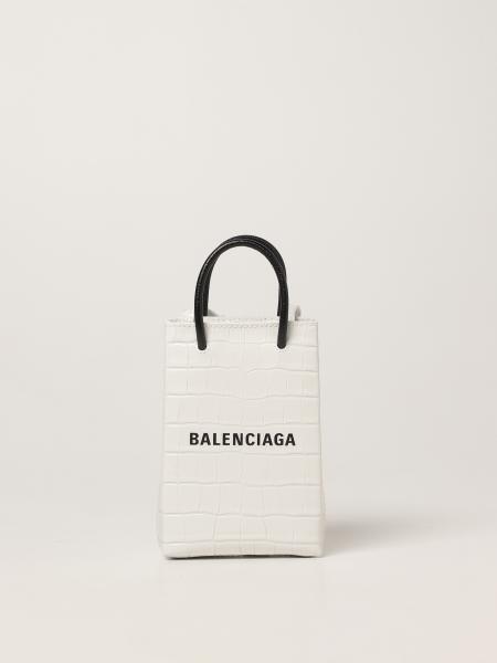 Balenciaga women: Balenciaga shopping bag in crocodile print leather