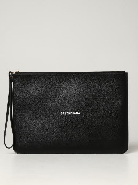 Balenciaga women: L Balenciaga clutch bag in grained leather