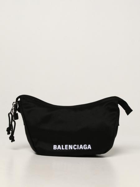 Balenciaga women: Balenciaga shoulder bag in nylon with embroidered logo
