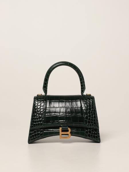 Balenciaga women: Hourglass top handle S Balenciaga bag in crocodile print leather