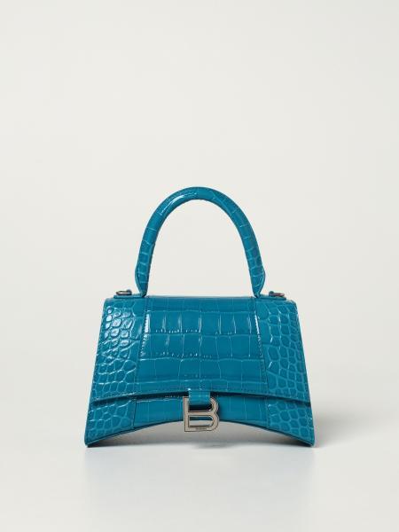 Hourglass top handle S Balenciaga bag in crocodile print leather