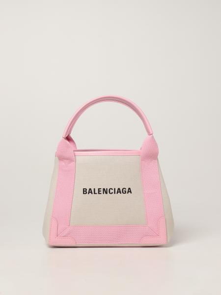 Balenciaga women: Navy Cabas Xs Balenciaga bag in canvas with logo