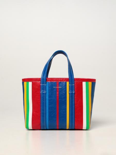 Balenciaga women: East-West Balenciaga Barbès bag in leather with striped print
