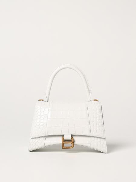 Balenciaga Hourglass top handle bag in crocodile print leather