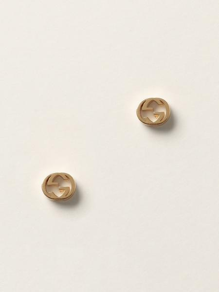 Gucci: Interlocking g studs earrings in 18kt yellow gold - 5 mm