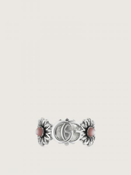 Gucci donna: Gg marmont ring in sterling silver and pink mop