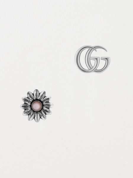 Gucci: Gg marmont earrings in sterling silver and pink mop - 15mm