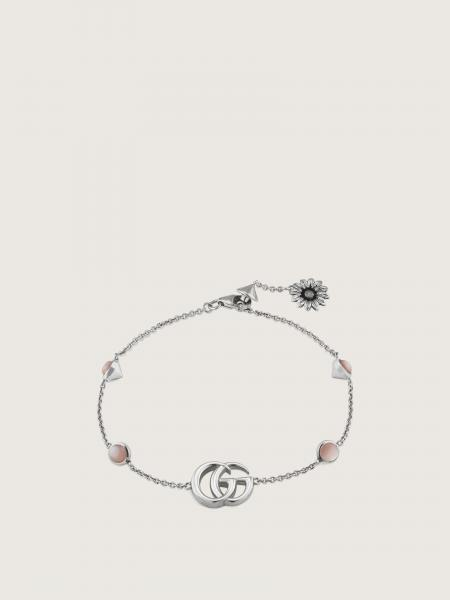 Gucci: Gg marmont bracelet in sterling silver and pink mop