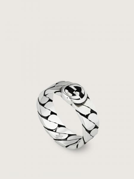 Gucci donna: Interlocking g band ring in sterling silver - width 6mm