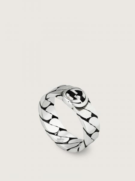 Gucci donna: Interlocking g band ring in sterling silver - width 8mm