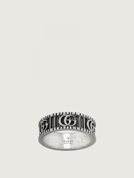 Gucci donna: Ring with double g motif in aged sterling silver