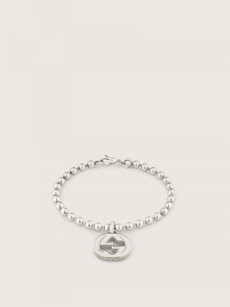 Gucci donna: Bracelet with interlocking g motif in sterling silver
