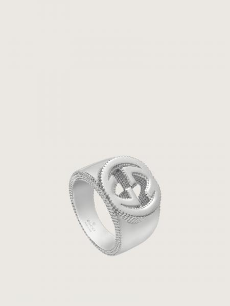 Gucci donna: Ring with interlocking g motif in sterling silver