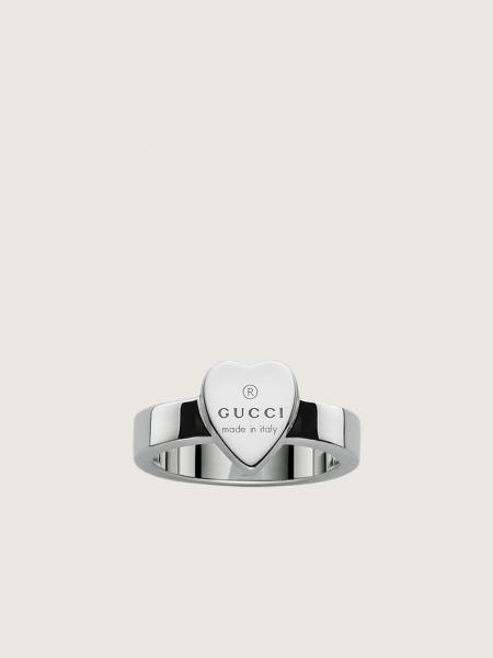 Gucci donna: Ring with gucci trademark engraved heart motif in sterling silve