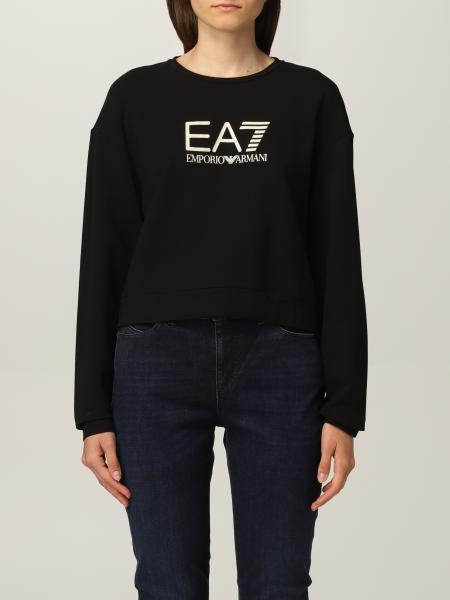 Felpan EA7 in cotone con logo a contrasto