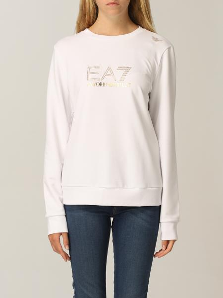Felpa Fundamental Sporty EA7 in cotone con logo e micro borchie