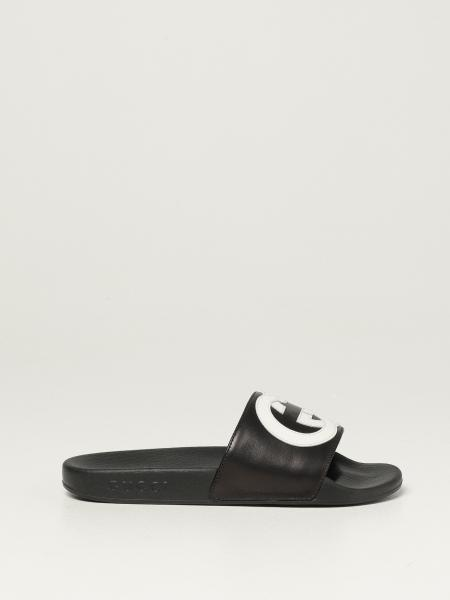 Gucci slide sandals in leather with logo