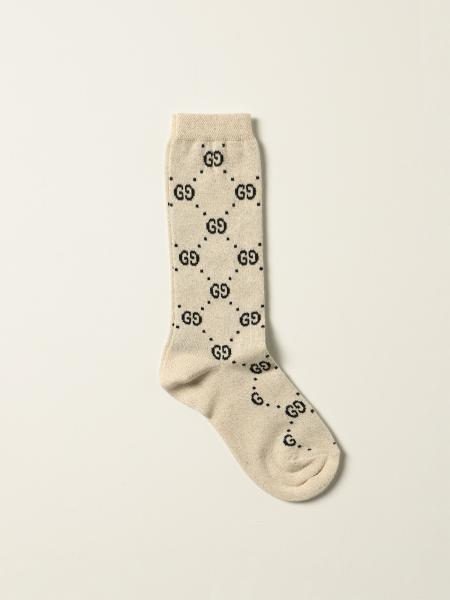 Gucci socks in cotton with GG Supreme motif in lamé