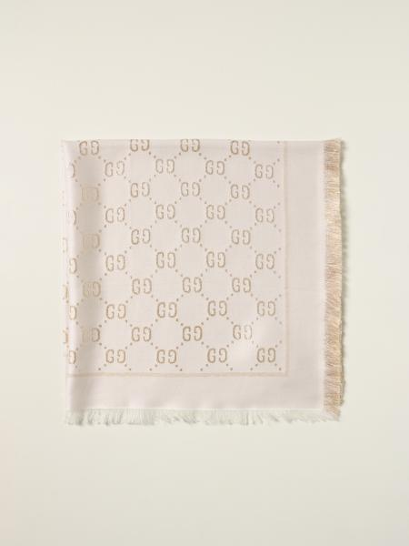 Gucci: Gucci lamé scarf with all-over GG Supreme pattern