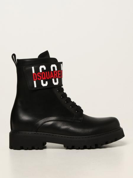 Dsquared2 boots in leather with Icon logo